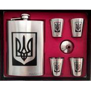 Подарочный набор (фляга 300 мл + рюмки и лейка) Украина