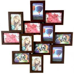 Коллаж на 12 фото из натурального дерева (4 цвета)