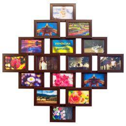 Коллаж на 16 фото из натурального дерева (3 цвета)