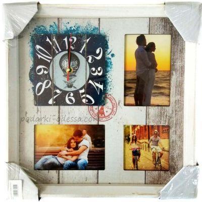 Часы + рамка на 3 фото 10х15