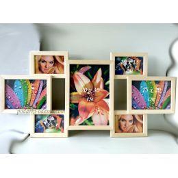 Коллаж на 7 фотографий из натурального дерева (3 цвета)