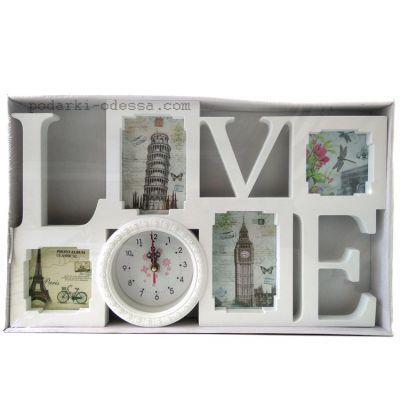 купить Коллаж для 4 фотографий LOVE с часами