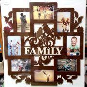 Рамка на 8 фотографій Family (58*61) коричнева