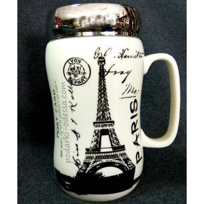 Кружка «Париж» с крышкой - зеркалом