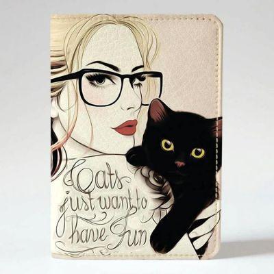 Обложка на паспорт v.1.0. 25 Девушка с котиком (эко-кожа)