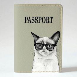 Обложка на паспорт v.1.0. 191 Унылый кот (эко-кожа)