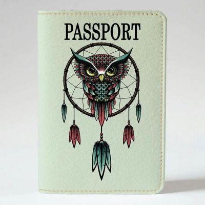 Обложка на паспорт v.1.0. 201 Сова - ловец снов (эко-кожа)