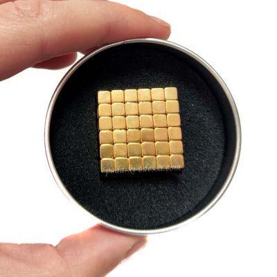 Тетракуб 5 мм золотой (квадратный неокуб)