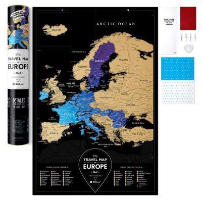 Черная скретч карта Европы Travel Map Black Europe