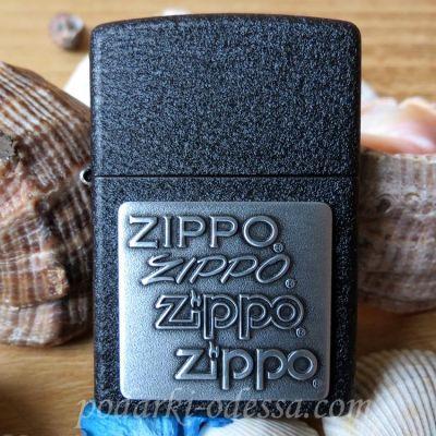 купить Зажигалку Zippo 363 Pewter Emblem Black Crackle