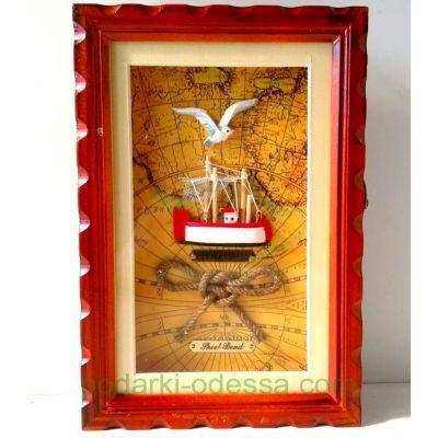 Ключница деревянная Корабль