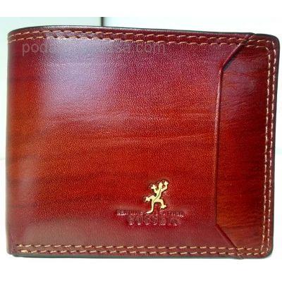 Кожаный мужской кошелек COSSET коричневый