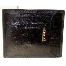 Кожаный мужской кошелек COSSET черный