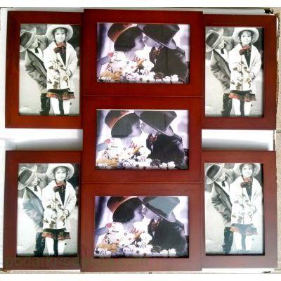Деревянный фотоколлаж для 7 фотографий 10х15