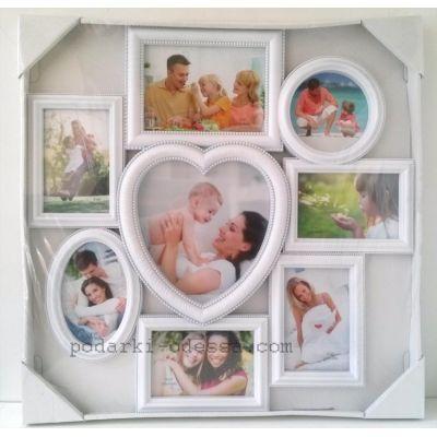 Коллаж из 8 фотографий с сердцем