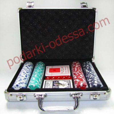Набор для покера в алюминиевом кейсе на 200 фишек без номинала