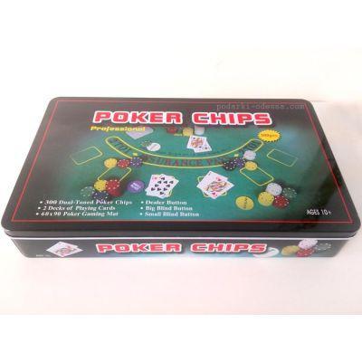 Набор для игры в покер 300 фишек + полотно Blackjack