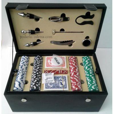 Покерный + винный набор в черном кейсе