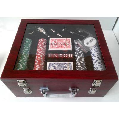 Покерный + винный набор в деревянном кейсе
