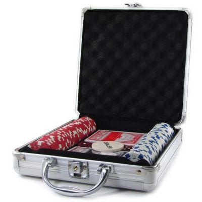 Покерный набор в алюминиевом кейсе на 100 фишек без номинала