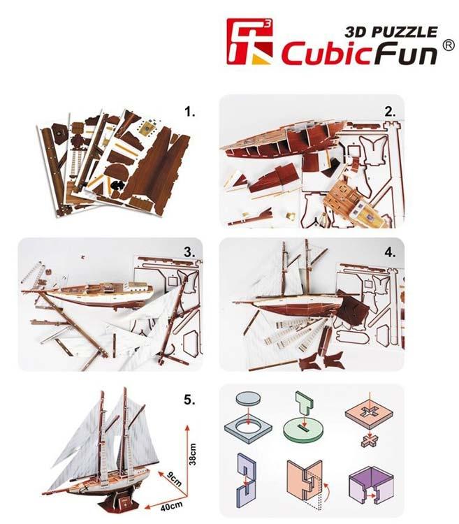 3D puzzle двухмачтовая шхуна